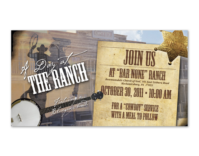 Day at the Ranch Postcard Design front